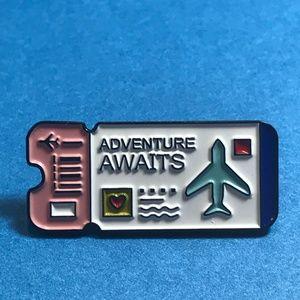 """Adventure Awaits"" Ticket Enamel Pin Backpack Pin"